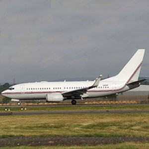 This Boeing 737, seen in Glasgow, Scotland on Sept. 7, 2003, has been identified by European investigators as a plane used for CIA rendition flights. (AP Photo/Fred Seggie)