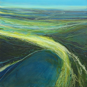 Coastal Aerial View by Alison McGill, Oil and wax on board